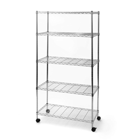 """5-Shelf Storage Shelving Unit with Removable Locking Casters Wheels,  SCSU5991 :  Organize your home or office with this 5-Shelf Storage Shelving Unit with Removable Locking Casters Wheels. This versatile shelving unit is constructed from industrial-strength UltraZinc plated steel. The zinc plating process provides added corrosion resistance and is better for the environment (compared to chrome plating) as fewer harmful chemicals are used in the plating process. This steel wire shelving unit is backed by a 10 year limited warranty and includes both adjustable leveling feet (four pieces) and 2"""" black rolling casters/wheels (two locking). Each ventilated shelf has a weight capacity of up to 300 lbs (on leveling feet) and 50 lbs (on wheels). This entire shelving system can accommodate 1,500 lbs on leveling feet. Shelves can be adjusted at one-inch intervals and are compatible with other Seville Classics Home-Style branded shelving of similar sizes (0.75"""" diameter shelving posts/poles) and configurations. This durable shelving system is the ideal storage solution for organizing any room and measures 30-inches by 14-inches by 60-inches high (61.5-inches high on wheels). Commercial strength UltraZinc plated steel; Easy assembly with no tools required."""