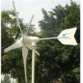 1,000 Watt 24-Volt 5-Blade Home Wind Generator with Charge Controller, WM1000W24V5B :  Our high performance, reliable 1,000 Watt 24-Volt 5-Blade Home Wind Generator with Charge Controller features advanced electromagnetic over speed control, aerodynamic blade speed limitation, solar/wind dual output capability, reliable light weight generator design using die-casting technique and high performance rare earth neodymium magnets, advanced airfoil designed blades made of mixed nylon and reinforced fiber glass using injection molding and thermoplastic technologies for consistency, high strength. HYenergy Windmax Wind Turbines are the one of the most well built, reliable, most efficient and cost-effective small wind turbines available on the market today. The HYenergy Wind turbine system is the perfect choice in a smart investment for a renewable energy solution built on advanced technologies. The HYenergy wind turbine system defines a new level of superior performance and reliability in the small wind turbine industry. Brushless, strong Neodymium magnet PMA, unique winding and multi pole design reduce the start-up torque of the alternator to assure the HYenergy wind turbine have great performance at low wind speed. Designed with both reliability and performance in mind, HYenergy Wind Turbines feature maintenance free design, high reliability and consistent performance. The result: greater energy production yield for all wind speeds and lowest ownership cost. A small home wind turbine is a long term investment. Windmax H series wind turbines lead the small wind turbine industry by eliminating problematic mechanical furling over speed control which requires a lot of maintenance and causes wind turbine failure. Windmax H series wind turbine improves the reliability and performance by advanced electromagnetic speed limitation supplemented by aerodynamic speed limitation by blade deformation. Electromagnetic braking is used in combination with Aerodynamic braking to reduce th