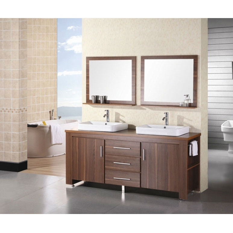 72-inch Double Sink Vanity Set in Toffee with Porcelain Vessel Sinks, DES13137 :  This 72-inch Double Sink Vanity Set in Toffee with Porcelain Vessel Sinks is a stylishly constructed solid wood frame with veneer to express the richest finish . The designer flat vessel drop in sinks and sleek cabinetry bring style and utility to any bathroom. The sinks rectangular round corner design beautifully contrast with the cabinets sleek lines. This vanity includes side storage, two large soft closing cabinets and three center drawers adorned with satin nickel hardware. Included are two framed mirrors with shelf. The Washington Bathroom Vanity is designed as center piece to awe-inspire the eye without sacrificing quality, functionality or durability.  Double sink vanity set; Water resistant countertop; Three functional pull out drawers with two single door cabinet; Matching pop-up drain and framed mirror; Faucets not included; Wood veneer construction; Manufacturer provides 1 year warranty. Style: Modern; Number of Doors: 2; Number of Drawers: 3; Top Finish: White; Base Material: Manufactured wood; Number of Sinks: 2; Mounting: Free-standing; Doors Included: Yes; Drawers Included: Yes; Sink Included: Yes; Faucet Included: No; Mirror Included: Yes.