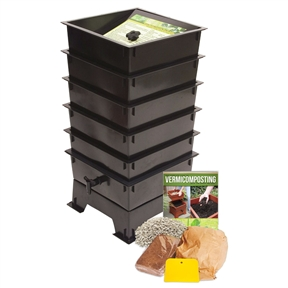 Worm Factory 5-Tray Compost Bin with Worm Tea Spigot - Black, WF5TB99515 :  Worm composting is an incredibly efficient way to convert kitchen scraps, junk mail and cardboard into nutrient-rich compost for your garden. Master gardeners agree that compost produced by worms will produce the best results and help your plants thrive. This Worm Factory 5-Tray Compost Bin with Worm Tea Spigot - Black unique stackable, multi-tray design makes it the most efficient worm bin composter around. Worms begin eating waste in the lowest tray, and then migrate upward as food sources in that tray are exhausted. By allowing worms to migrate upward, the worms separate themselves from the finished compost that is ready for the garden. Besides the worm castings that are produced through this process, the Worm Factory also produces a second type of compost. As waste is broken down, moisture filters through your Worm Factory, taking nutrient-rich particles with it. This liquid fertilizer, know as leachate is gathered in the special collection tray of the Worm Factory and can easily be drained from the spigot. Simply add a handful of worms and your organic waste to the bottom tray. The worms will start processing the food. Once the bottom tray is filled add another tray. The worms migrate upward to the newest food source leaving the bottom tray full of nutrient rich compost. As waste is broken down, moisture filters through the system taking nutrient-rich particles with it. You can drain organic liquid fertilizer right from the spigot. It's compact square design gives the Worm Factory the smallest footprint of all worm composters. The Worm Factory's tray stacking system allows it to hold the largest capacity of compost in the smallest amount of space, making it the perfect composter for anyone with space limitations. The Worm Factory is simple to operate. When full, each tray weighs only 12.5 pounds making lifting and arranging trays effortless. The included 38-page instruction manual and i