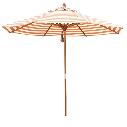 Orange and Natural White Stripe Market Umbrella with Wood Pole, ONPUBD581441 :  The hallmark of this Orange and Natural White Stripe Market Umbrella with Wood Pole is beautiful 100% marenti wood pole and rib system. The dark stained finish over a traditional marenti wood is perfect for outdoor dining rooms and poolside décor. The deluxe pulley lift system ensures a long lasting shade experience that commercial customers demand. Commercial grade design; Base not included; 8 Premium durable fiberglass ribs; Riveted and reinforced rib joints; High durable resin hub; Durable hardwood pole; Olefin canopy; Canopy Material: Olefin; Canopy Shape: Round; Pole Material: Wood; Weather Resistant: Yes; Lift Method: Pulley lift; Pattern: Stripe; Canopy Material: Olefin; Canopy Shape: Round;  Pole Material: Wood; Wheels Included: No; Tilt: No;  Assembly Required: No.