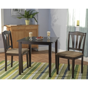 This 3-Piece Square Dining Set in Espresso Wood Finish would be a great addition to your home. It is constructed of rubber wood and manufactured wood. Set includes dining table and two chairs. Chair Material: Wood; Leaf Included: No; Seating Capacity: 2; Arm Chair Included: Yes; Chair Back Style: Slat back; Table Base Type: Four leg; Table Shape: Square; Product Care: Wipe clean with a dry cloth; Country of Manufacture: Malaysia.