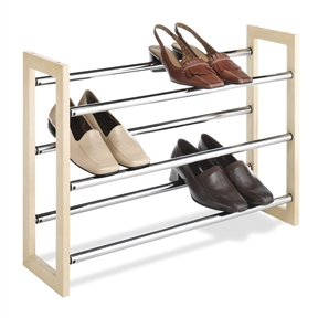 3-Tier Stackable & Expandable Shoe Rack in Wood & Chrome Metal, WSRX199782 :  This 3-Tier Stackable & Expandable Shoe Rack in Wood & Chrome Metal is expandable and stackable for additional shoe storage in your home, office, or dorm room. They are easy to assemble and boast a beautiful natural wood frame. The 3 tier chromed metal supporters are expandable from 25 inches to 46 inches.