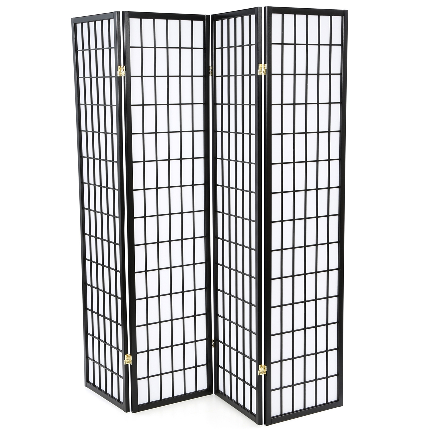 Black 4-Panel Asian Style Shoji Room Divider Screen, WHJRD75591 :  This Black 4-Panel Asian Style Shoji Room Divider Screen would be a great addition to your home. It has an Asian style and a solid wood frame construction. Screen constructed of cotton paper; Black finish; Product Type: Folding; Style: Asian/Shoji; Primary Material: Cotton; Number of Panels: 4; Country of Manufacture: Malaysia
