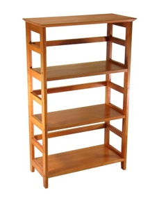 Showcase a favorite book collection, display photos and souvenirs, or organize a home office with this 4-Tier Book-shelf Wood Bookcase in Honey Finish. Crafted of solid/composite wood, this simple style features deep shelves, open ladder-style sides, and narrow back support rails. The warm Honey finish brings out the wood's lovely grain and adds an inviting, casual glow to any room. The bookshelf also matches Winsome Wood's computer desk, writing desk, corner table, printer stand, and file cabinet.