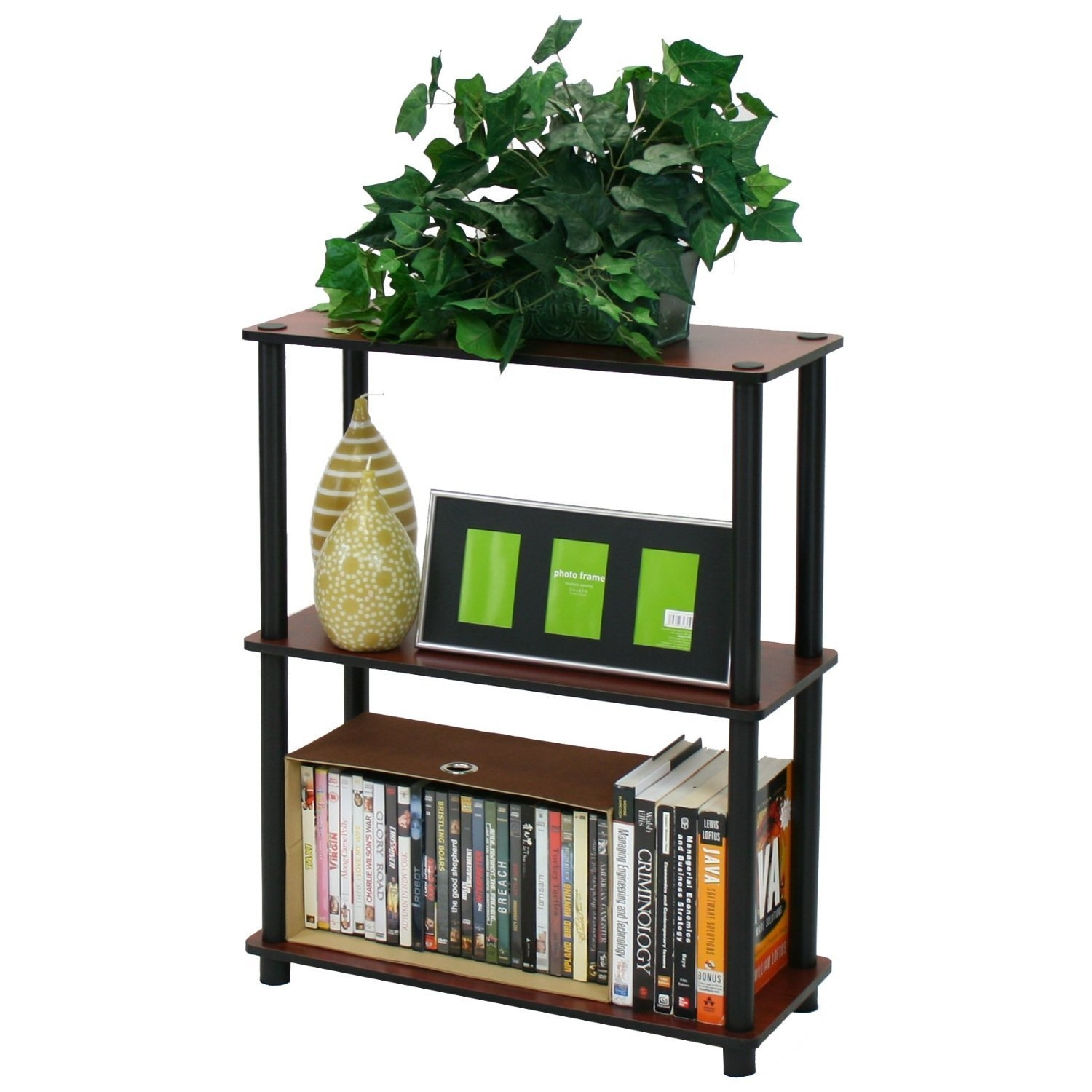 This Dark Cherry and Black 3-Tier Shelves Display Bookcase is designed to meet the demand of low cost but durable and efficient furniture. It is proven to be the most popular furniture due to its functionality, price, and the no hassle assembly. The materials comply with e1 grade particle board for furniture. There is no foul smell of chemicals, durable and it is the most stable particleboard used to make furniture. Care instructions: wipe clean with clean damped cloth. Avoid using harsh chemicals. We are pleased to send you the replacement part free of charge. Pictures are for illustration purpose. All decor items are not included in this offer. Pictures are for illustration purpose. All decor items are not included in this offer.