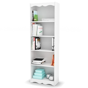Complement your home decor with the soft arches and beautiful open shelves of this White 72-inch High Bookcase with Soft Arches and 5 Shelves. Paired up or on their own these open shelves are a simple contemporary way to organize your living space or add some personal style. Frame Material Details: Manufactured wood; Shelf Weight Capacity: 25 Pounds; 1 Year warranty; Product Type: Standard; Style: Contemporary; Country of Manufacture: Canada; Assembly Required: Yes; CARB Compliant: Yes; ANSI BIFMA Compliant: Yes.