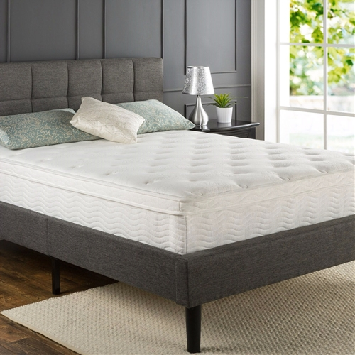 This Queen size 12-inch Thick Euro Box-Top Innerspring Mattress features hundreds of independent iCoils providing customized support while minimizing motion transfer for uninterrupted sleep. The Foam and Fiber Quilted Cover, 2 layers of Pressure Relieving Comfort Foam, and a High-density Foam layer all add to the exceptional conforming comfort. The stable support layer is the 7.5 Inch iCoil Pocketed Springs . The Queen size 12-inch Thick Euro Box-Top Innerspring Mattress provide stable support, keeping you aligned and pressure free for a great night's sleep. Please open your mattress package within 72 hours of receipt and allow 48 hours for your new mattress to return to its original, plush shape. Another comfort innovation from Zinus. Pioneering comfort.