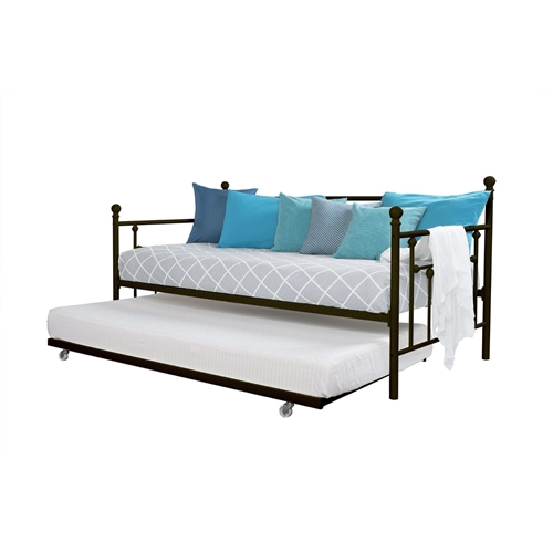 Twin size Metal Daybed with Pull-out Trundle Bed in Bronze Finish: Product Code: DMDB51984152 : Tailor-made to have a unique modern style that is sophisticated, yet simple, this Twin size Metal Daybed with Pull-out Trundle Bed in Bronze Finish can be accented to compliment any decor. Appealing to the eyes, the Twin size Metal Daybed with Pull-out Trundle Bed in Bronze Finish is also handy for accommodating visitors with its roll-out trundle. Crafted with a sturdy metal frame and metal slats, this daybed accommodates any standard twin size mattress. Used as a sleeping area or relaxing area, for yourself or guests, this daybed comes out a winner on all fronts. Trundle includes four (4) casters - 2 locking and 2 non-locking.