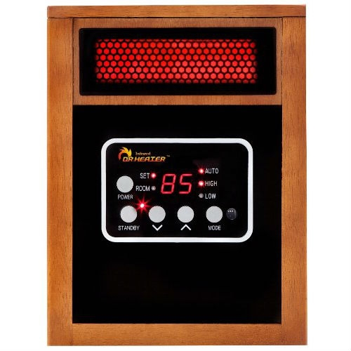 Portable 1500 Watt Infrared Space Heater with Remote Control, DHQ1299513 :  This Portable 1500 Watt Infrared Space Heater with Remote Control, newly engineered and designed in the US, is one of the best alternative and most efficient heating sources for you this winter. The Heating System, combining PTC and Quartz Infrared Element, keeps you warm this winter while saving on heating bills. Equipped with a Dual Heating System and High Velocity Low Noise blower, the Infrared Heater increases the heat distribution and transfer rate and the result is heating your room to a comfortable temperature, fast. The Infrared Heater is certified by Underwriters Laboratories (UL) USA and Canada, ensuring the highest safety standard. The Infrared Heater is perfectly safe around children and pets and only gets warm to the touch. It does not have exposed heating elements that can cause a fire. The Infrared Heater comes with Energy saving Auto Mode, high and low setting when the mode is set to Auto, the unit will cycle on and off and switch between high or low setting to maintain the desired temperature setting. All Infrared heaters are engineered and designed in the USA.  Advanced dual heating systems increase the heat transfer rate, and evenly heats your space up to 1,000 square feet, fast; The newly engineered heater produces 60% more heat than the other models in the market; Great supplemental heating source. Listed by Underwriters Laboratories (UL) USA &Canada that ensures highest safety standards; Perfectly safe around the children and pets with no exposed heating elements; Overheat Cut Off and Tip Over Protection System; Manufactured by the same factory that supplies heaters to Sears and Home Depot.