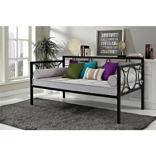 Twin size Modern Black Metal Daybeds - Use as Bed or Seating: Product Code: TBMDBD51981 : Create a comfortable and welcoming haven for your family and guests with this Twin size Modern Black Metal Daybeds - Use as Bed or Seating. The circular motifs and square tubes lend a contemporary look to any modern home. This versatile twin-size daybed offers extra seating and sleeps one comfortably. The simplicity and tailored look of the Twin size Modern Black Metal Daybeds - Use as Bed or Seating is sure to create hospitality in your home! Weight capacity: 400 lbs; Mattress Included: No; Style: Contemporary; Distressed: No; Hand Painted: No; Frame Material: Metal; Solid Wood Construction: No; Mattress Included: No; Canopy: No; Trundle Bed Included: No; Box Spring Required: No; Storage Area: No; Country of Manufacture: China; Product Warranty: 1 year.