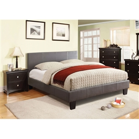 Give your bedroom a stately makeover with this Queen-size Platform Bed with Headboard Upholstered in Gray Faux Leather. Modern bed features clean lines and polished surfaces with just a touch of leatherette upholstery to toughen the look. Structured and generously padded headboard blends beautifully with the low profile footboard and rails. Exposed block feet have an espresso finish. Bed internal frame is made of selected solid woods for structural rigidity. Mattress ready platform bed comes with European style slat kit. Bed comes in a wide range of colors for your bedroom selections: Gray, White and Dark Espresso. Assembly Required. Once assembled, Product measures 86.5 by 39.50 by 63.25 Inch. All decor items are not included in this offer unless specified.