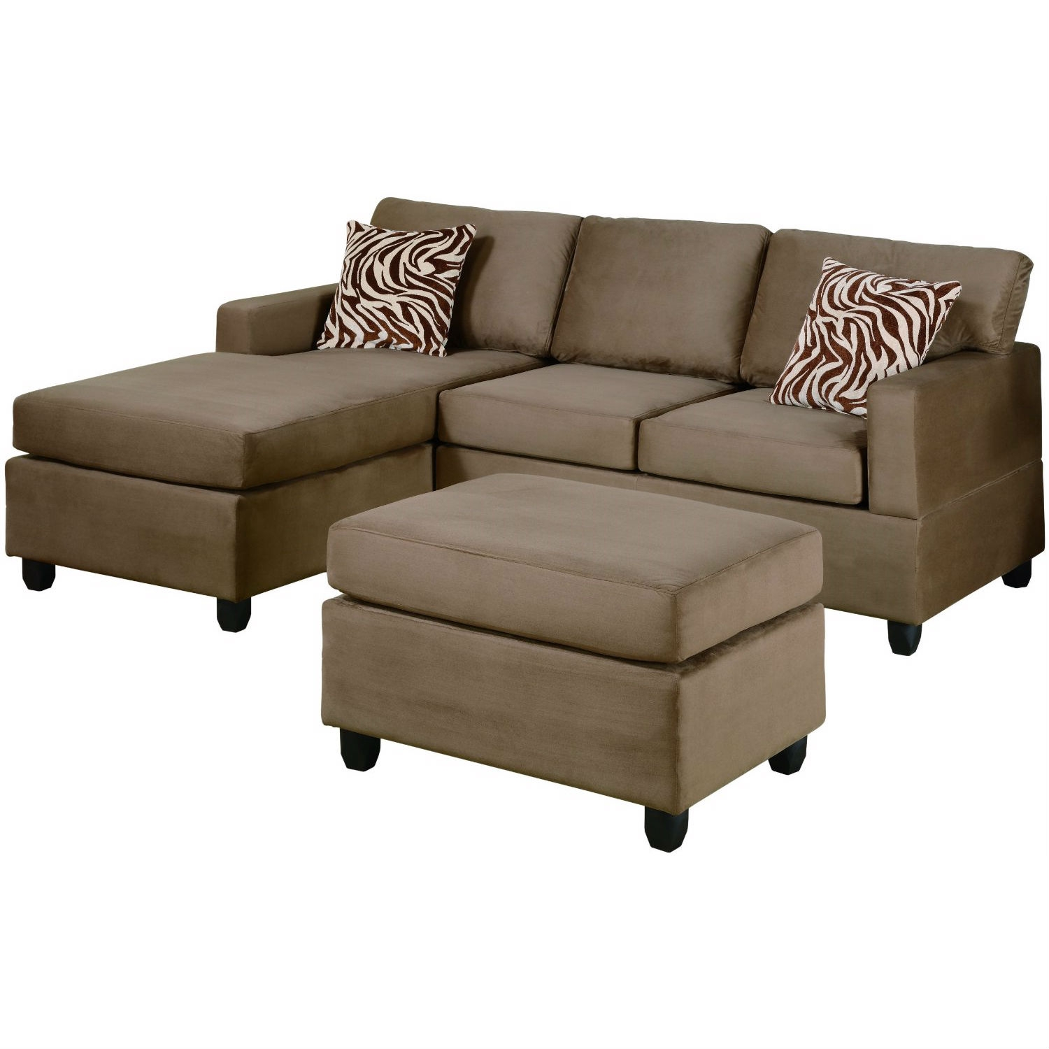 This Reversible 3-Piece Sectional Sofa Set in Saddle Color Microfiber is available in a multitude of colors in a smooth microfiber. Its versatility and style is great for den and standard living room spaces. Accented with brown and white zebra print pillow, This collection also features a classic plush cocktail ottoman. Enjoy the experience of modern decor with a practical and functional composition. Available in Chocolate (F7661), Saddle (F7662), Mushroom (F7664) Red (F7668), Pepple w/ PU (F7669) and Sage w/ PU (F7670).