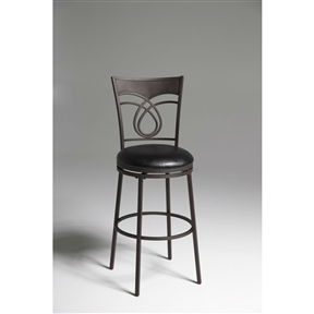 The first thing you'll notice about this Metal 30-inch Bar Stool with Black Faux Leather Swivel Seat is the swirled design of the seatback. These eye-catching loops will make this a great addition to your dining area. The Umber finished metal and luxurious black faux leather seat enhance your dining experience by providing not only comfort, but class. Seat Style: Round; Seat Color: Black; Distressed: No; Frame Material: Metal; Seat Back Type: Mission back; Leg/Base Type: 4 legs; Footrest Included: Yes; Product Care: Wipe with a clean, damp cloth; Country of Manufacture: China.