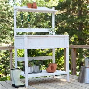 White Potting Bench Home Gardening Station with Storage, CPBG1398 :  This White Potting Bench Home Gardening Station with Storage is a useful and stylish addition to your backyard décor. This attractive, white-washed bench is manufactured from durable Asian fir and offers plenty of storage and hanging space for your tools and implements, together with a large table surface for potting your plants and flowers. The bench has a useful top shelf for storing empty pots, and you'll be amazed that you ever managed without it once you've experienced the joys of potting at table level rather than kneeling on the ground. Storage under work surface and on lower rack.