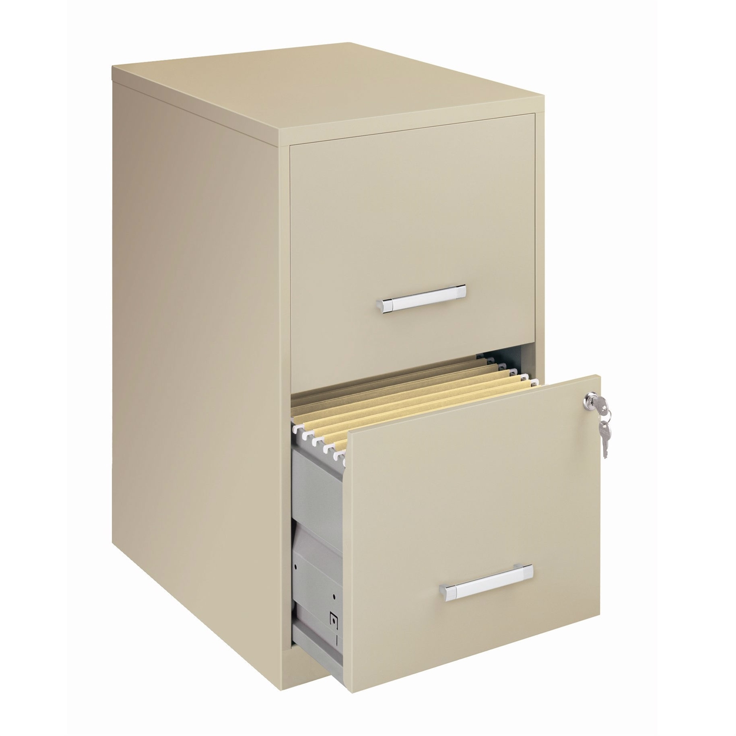 This Locking 2-Drawer Vertical File Cabinet in Putty Color would be a great addition to your home. Glide suspension; Universal lock; Made in the USA.
