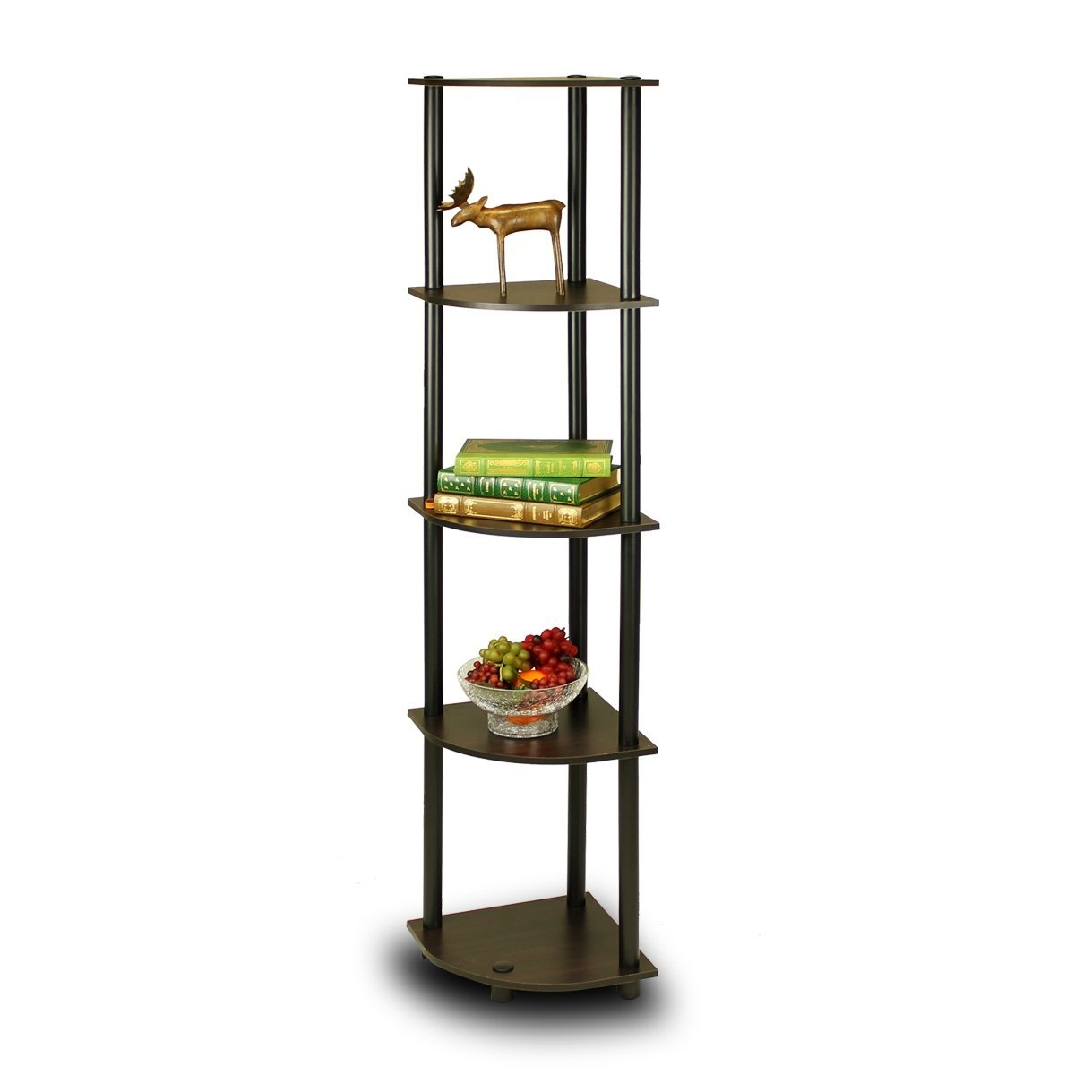 This 5-Tier Corner Display Shelf Bookcase in Espresso & Black is designed to meet the demand of low cost but durable and efficient furniture. It is proven to be the most popular furniture due to its functionality, price, and the no hassle assembly. The materials comply with e1 grade particle board for furniture. There is no foul smell of chemicals, durable and it is the most stable particleboard used to make furniture. Care instructions: wipe clean with clean damped cloth. Avoid using harsh chemicals. We are pleased to send you the replacement part free of charge. Pictures are for illustration purpose. All decor items are not included in this offer. Pictures are for illustration purpose. All decor items are not included in this offer.