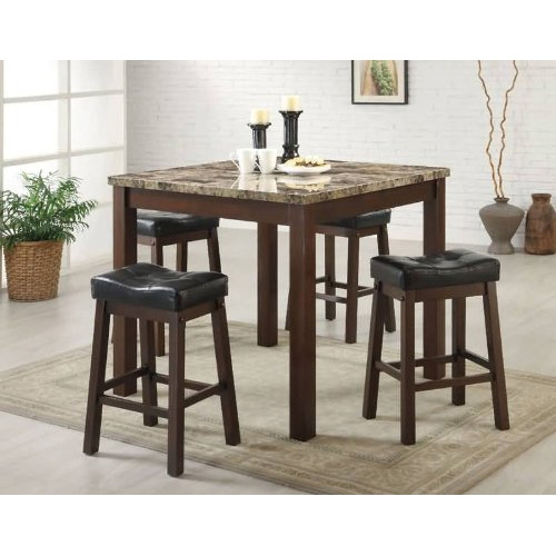 This 5-Piece Cherry Dining Set with Faux Marble Table Top has a faux marble top with 25-1/4-inch upholstered saddle stools.