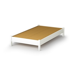 This Twin size Simple Platform Bed Frame in White Wood Finish is great value for your money, as it does not require a box spring. In addition, the decorative legs will give your bedroom a stylish touch. It is designed to support a maximum weight of 250-pound. It is also available in Pure Black, Natural Maple or Chocolate finish. It measures 78-inch long by 43-inch wide by 13-1/2-inch high. It is delivered in a box measuring 81-1/2-inch by 23-1/4-inch by 4-1/4-inch weighing 100-pound. Made of non-toxic recycled CARB2 compliant laminated particle panels. Complete assembly required by 2 adults. Tools are not included. Made in Canada.