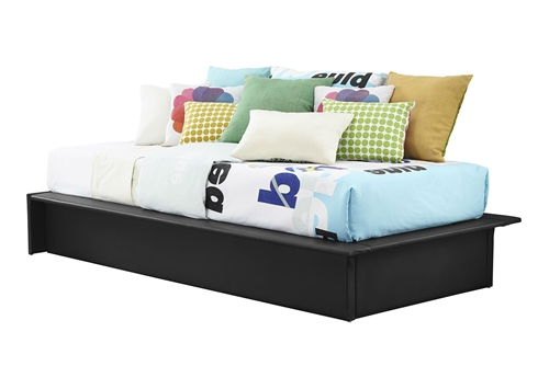 Go back to basics with Black Faux Leather Upholstered Platform Bed Frame with Wood Slats in Twin! This simple, no-frills platform bed is the perfect addition to an urban chic decor. Upholstered in black faux leather and designed with multiple wooden slats for support, the bed has clean lines and sleek detailing for a trendy look. Designed to not look bulky, this bed is also great for making your space look bigger. Does not require a box spring or additional foundation; Surface wipes clean with a damp cloth; Bed Type: Platform; Frame Material: Metal; Headboard Included: No; Box Spring Required: No; Slats Required; Slats Required: Yes; Slats Included: Yes