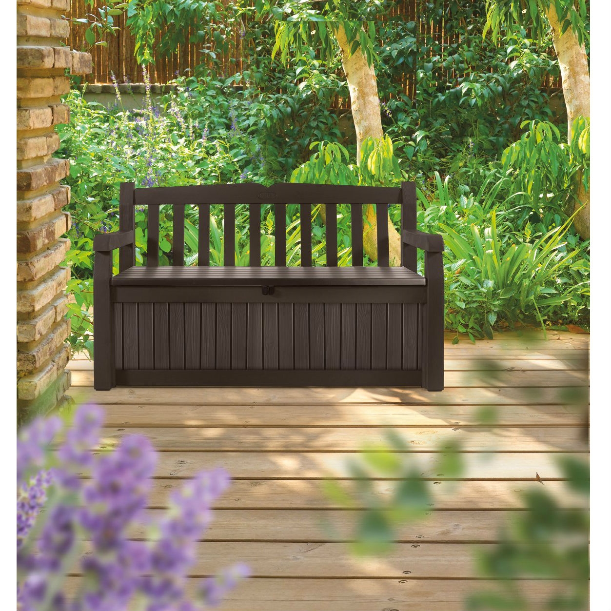 Brown Resin Outdoor Patio Garden Bench with Storage Box, KEB12942 :  Want to turn your yard into a garden paradise? This Brown Resin Outdoor Patio Garden Bench with Storage Box is a great place to start. At first glance, the Eden Bench looks like a clean, contemporary wood-style bench with comfortable seating for two adults. But hidden beneath is a large-capacity outdoor storage solution to keep your yard and garden supplies out of sight until needed. The bench is made from high-strength, all-weather and UV-protected resin. It will not warp, rust, rot, dent or peel (and its beige and brown resin never needs painting). The Eden Bench is also ventilated, but waterproof to keep contents dry. It's a comfy bench. It's a storage box. It's practically perfect. Contoured back and arm rests.