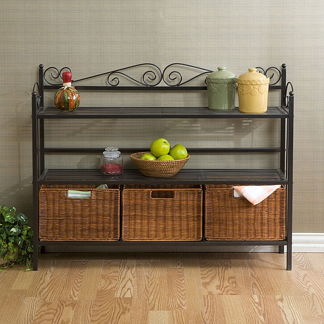 This elegant and beautiful Metal Kitchen Baker's Rack with Three Rattan Drawers will help with storage, display and organization. Also, it features lower shelf which holds three hand-stained rattan baskets. Baskets can be removed or carried with you; Textured gun metal grey finish; Durable metal construction; Assembly required.