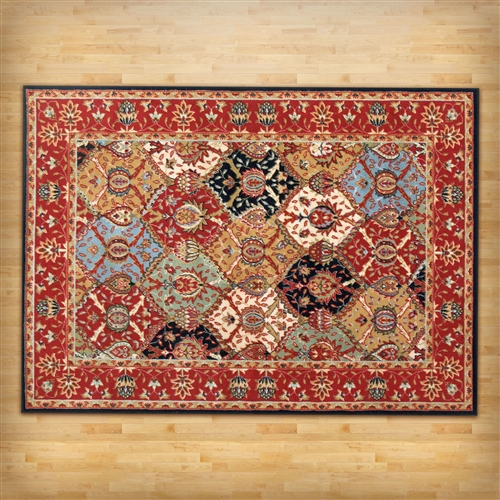 "5'3"" x 7'3"" Area Rug in Red Blue Black Oriental Pattern, FSEV598415 :  This 5'3"" x 7'3"" Area Rug in Red Blue Black Oriental Pattern effortlessly coordinates with existing décor, while a bright palette brightens any space. Durable polypropylene is easy to maintain, stain-resistant, and won't fade with extended exposure to the sun, making this rug a great addition to a dining space or entryway. Material: Synthetic; Reversible: No; Rug Pad Needed: Yes; Construction: Machine made; Technique: Machine woven; Border Color: Multi-colored; Stain Resistant: Yes; Eco-Friendly: No; Outdoor Use: No; Country of Manufacture: Turkey."