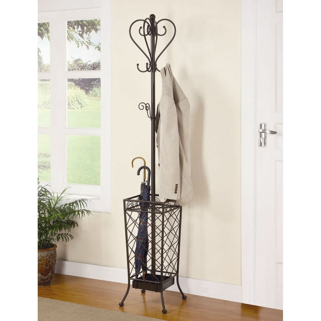 Metal Coat Rack Entryway Hall Tree with Umbrella Stand, MCRUS7850 :  This Metal Coat Rack Entryway Hall Tree with Umbrella Stand would be a great addition to your home. It has a casual style and a matte brown finish. Casual style; Hanging hooks on the top and umbrella stand on the base; Matte Brown finish; Number of Hooks: 8; Installation Type: Freestanding; Umbrella Stand Base: Yes.