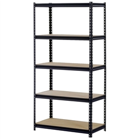 """Sturdy Black Steel 5-Shelf Storage Rack Freestanding Shelving Unit, ESM685213 :  This Sturdy Black Steel 5-Shelf Storage Rack Freestanding Shelving Unit has a 16-gauge steel rack and shelves made of particle board to support an 800-lb. per shelf capacity and a 4000-lb. total capacity when the weight is distributed evenly across all shelves. This unit has double-riveted beams that lock into double-rivet holes on the corner post for structural security. The corner post rivet holes on this unit are punched at 1-1/2"""" intervals for precise adjustment to desired shelf height. The steel rack has a black enamel finish to resist corrosion. This unit is open on all four sides to facilitate access to shelf contents from any angle. The posts on this unit have a two-piece design so it can be assembled vertically to create one 72 x 36 x 18 inch (H x W x D) unit, or assembled horizontally to create two 36 x 36 x 18 inch units, one unit with two shelves and one unit with three shelves. (H is height, the vertical distance from lowest to highest point; W is width, the horizontal distance from left to right; D is depth, the horizontal distance from front to back.) This shelf unit has a rivet lock design for boltless assembly. Assembly instructions are included. A rubber mallet (sold separately) is recommended for assembly."""