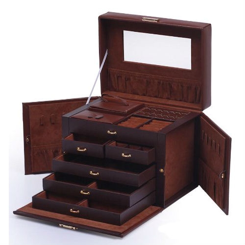 5-Drawer Brown Leather Jewelry Box Organizer Storage Travel Case, BLJTC6298153 :  Hand-crafted of the finest sleekest leather, innovative in design, delicious tone, this 5-Drawer Brown Leather Jewelry Box Organizer Storage Travel Case features convenient compartments, unique fold out panel design for hanging necklaces and bracelets, adorable mini travel case, gleaming gold-plated clasps, and large capacity to hold even the largest jewelry collections, Showcase your collection in glamor and style in this timeless jewelry case. 20 compartments; 10 necklace hooks; Lined in silsuede and finished in oiled leather and durable synthahide; 2 removable earring holders which hold up to 30 earrings (10 hanging, 20 posts); Twin fold out side compartments with snap closures; Large mirror on top lid; Removable mini travel jewelry box (shown at rear left of the jewelry box) that holds even more rings/necklaces/earrings and other jewelry.. perfect for any trip! Locked with a key.