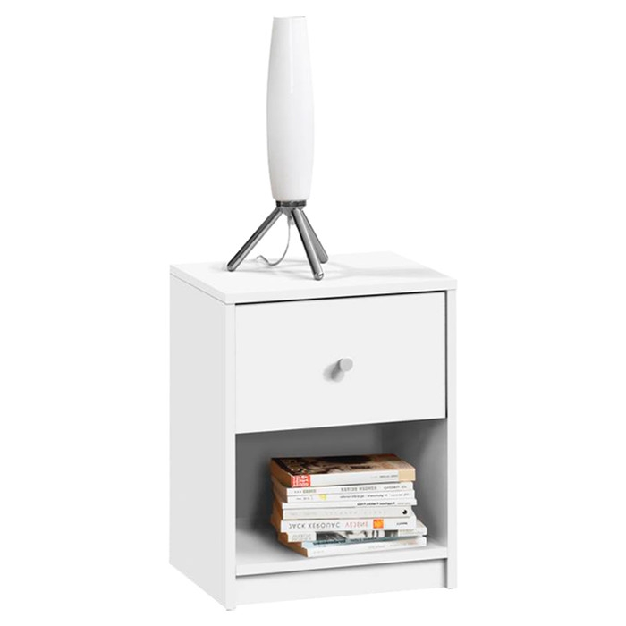This Contemporary 1-Drawer Nightstand with Storage Shelf in White would be a great addition to your home. It has a contemporary style and is made of PEFC certified sustainable wood.