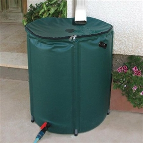 Collapsible 50-Gallon Rain Barrel with Zippered Top in Green Color, RB50GZT3643 :  This Collapsible 50-Gallon Rain Barrel with Zippered Top in Green Color is a cost-effective, environmentally-friendly way to water a garden, potted plants or outdoor flowers without running up the energy bill. Simply set beneath a downspout to capture 50-gallons of nature's purest water - no minerals, chemicals or sediment. Zippered top opening is handy for scooping water with bucket or watering can. Connect hose to built-in tap for watering and draining ease. Collapses for off-season storage.