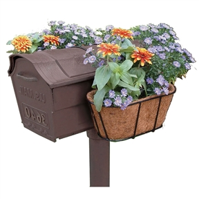 Mailbox Hanging Flower Planter with Coco Mat, PMFLP381546 :  This Mailbox Hanging Flower Planter with Coco Mat would be a great addition to your home. Coco mat provides insulation and the saucer helps to retain more moisture than standard coco mat product. Flexible coated chain fits any mail box shape; Steel wire is vinyl coated and rust-proof; Material: Metal; Product Type: Wall and hanging; Material Details: Steel wire; Color: Brown; Shape: Novelty.
