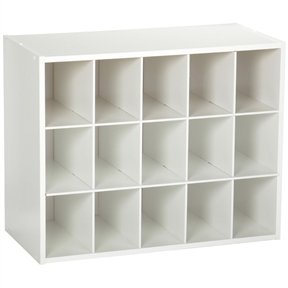 15-Cubby Stackable Shoe Rack Organizer Shelves in White Wood Finish, CSOW478531 :  This 15-Cubby Stackable Shoe Rack Organizer Shelves in White Wood Finish would be a great addition to your home. 15-cubby shoe organizer is also great for accessory or small-item storage. Holds 15 pairs of shoes; Stackable for additional storage space; Easy assembly required.
