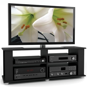 Enhance your living space with the contemporary design of this Contemporary Black TV Stand - Fits up to 54-inch TVs. Enjoy the generous open storage space perfect for housing all of your A/V equipment, complete with adjustable shelves to create a custom look. The open design provides ample storage space and crucial breathing room for all of your high valued electronics allowing them to perform at their full potential. Featured in our Midnight Black Lacquer finish this transitional stand can accommodate most 42-inch-54-inch TVs. Bring home this contemporary furniture by Sonax, proudly built in North America.
