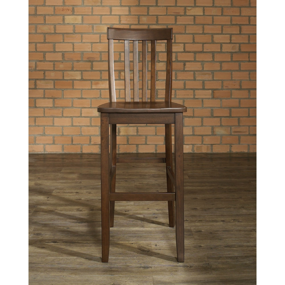 """Add functionality to your table, bar or kitchen island with one of these Set of 2 - Solid Hardwood 30-inch Bar Stools in Wood Mahogany Finish. These seating solutions are deceptively simple yet smartly designed with maximum comfort in mind. Clean lines marry with solid construction featuring a contoured seat that comforts while facilitating correct posture. Small enough to tuck away nicely, yet stately enough to hold its own presence in any setting, stools pair nicely with a piece from the dining collection or yours. ISTA 3A certified; Solid hardwood construction; Manufacturer provides a 3 month warranty against defects in material and workmanship; Style: Mission/Shaker; Seat Height Type: Bar (28""""-33""""); Leg/Base Type: 4 legs; Footrest Included: Yes; Commercial Use: No; Country of Manufacture: Viet Nam."""