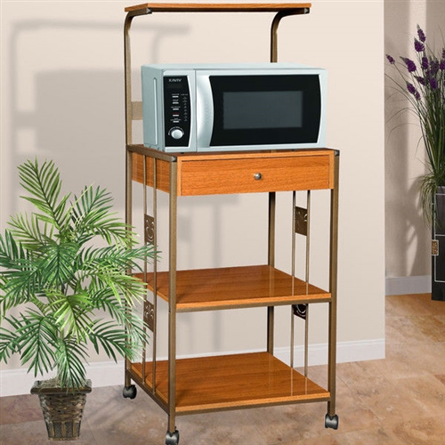 This Steel and Wood Kitchen Utility Microwave Cart in Cherry is a sturdy and durable addition to your kitchen. It has a steel and wood construction. The base is available in multiple finishes. It scores high on its utility aspect by not just accommodating your microwave but also providing plenty of storage space. It also features two electrical outlets for neat wire organization. Three open shelves and one drawer offer both, closed and open storage choices. It stands on wheels, which offers easy mobility. This Steel and Wood Kitchen Utility Microwave Cart in Cherry is a wonderful combination of form and function. This microwave cart is ISTA 3A certified, which ensures safety during transit.