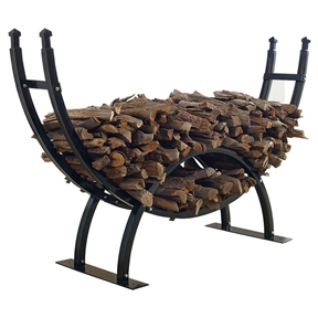 Round Crescent Firewood Rack - One Fourth Cord Log Storage, CGFSR164753 : This Round Crescent Firewood Rack - One Fourth Cord Log Storage is designed for the true ''fire enthusiast''. With a capacity of a 1/4 cord of wood, this crescent shaped rack keeps the log pile looking great. Designed to let wood breathe so it can season correctly, this rack also features a separate area for kindling and small logs. Made of durable powder coated steel. Non-toxic; Provides excellent ventilation for year round seasoning of wood; Sealed powder coated finish; Product Type: Log racks; Style: Traditional; Country of Manufacture: China.