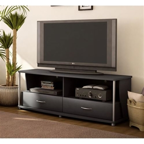 This 50-in TV Stand in Black Finish brings the sleek simplicity of modern style to your entertainment area, with its forward-thinking linear design, deep pure black finish and gleaming metal accents. Rounded edges at the tops, bottoms and sides of each piece of furniture add an expressive accent and soften the overall appearance. Reinforcing the minimalist design of the collection are silver legs and dowels that stand out in sheer contrast with the pure black finish. Each piece includes open storage spaces to accommodate entertainment items and components, decorative pieces, books and even plants while occupying a minimal amount of living space. Configure each piece to suit your storage needs and personal style. Environmentally Preferable Product (EPP) certification –Already meeting the very strict 2009 California Formaldehyde Regulations; Greener communication tools – Reduced format on recycled paper and conversion to electronic format. A Green Future in mind: a member of the Composite Panel Association whose mission is to work towards more ecological and environment-friendly panel solutions. City Life collection.