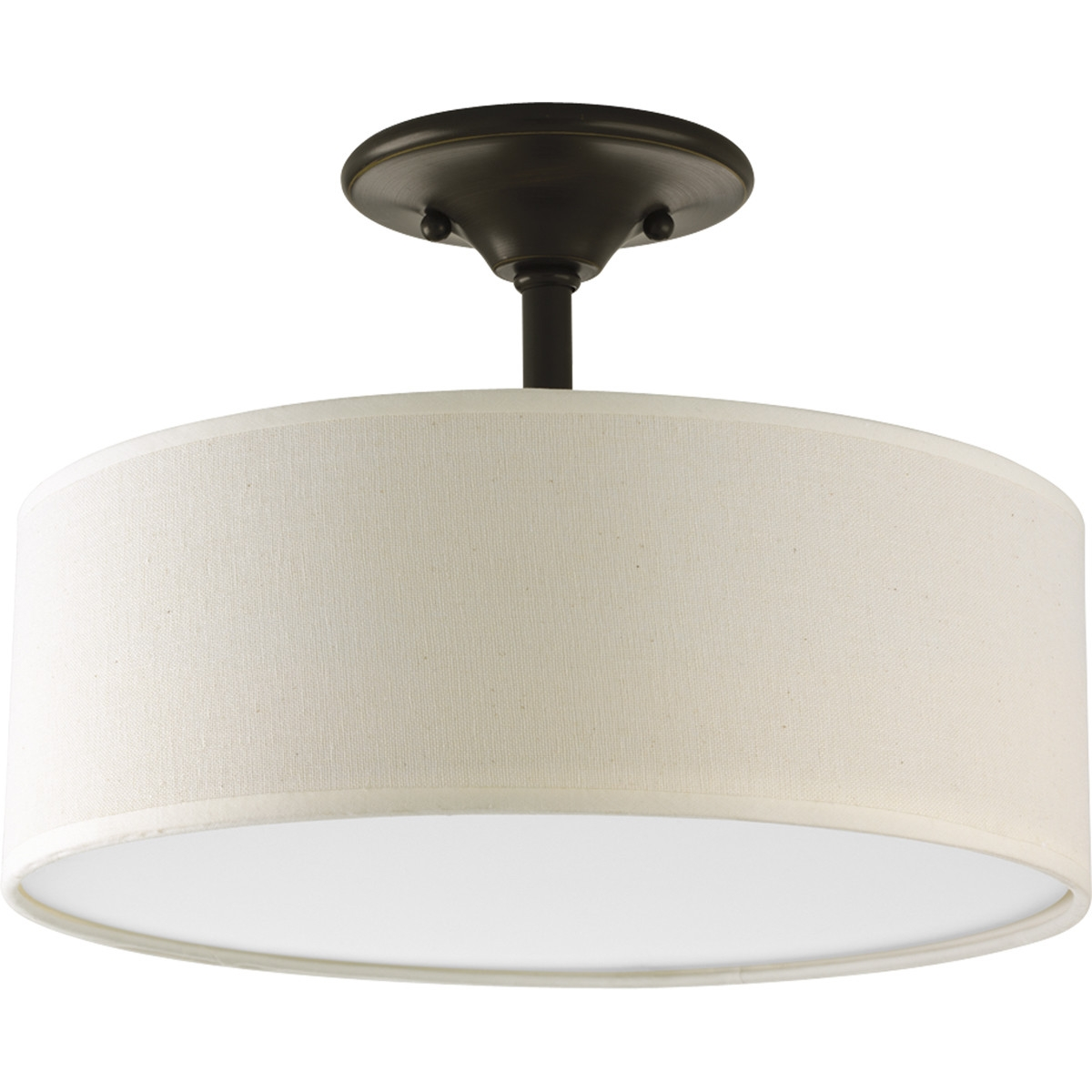 This Antique Bronze Semi-Flush Mount Ceiling Light w/ Round Drum Shade would be a great addition to your home. It is made of fabric with plastic inner lining and comes with two lights.