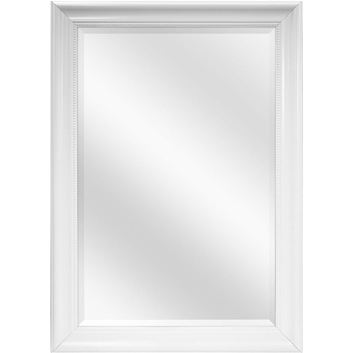 "This Bathroom Mirror with Silver Frame - Hangs Vertically or Horizontally can be hung vertically or horizontally. The 2.5"" wide black frame will blend with most decors to help enlarge a room or hallway while providing function.This Large Rectangular Bathroom Wall Hanging Mirror with White Frame - 42 x 30 inch has a 1 inch beveled mirror measuring 24x36 Inch. The wide 3.5 inch beaded frame is molded in a nice White finish and includes installed hangers to hang the mirror either horizontally or vertically. Hangs vertical or horizontal using attached D ring hangers. The perfect mirror for the bedroom, bath, entryway."