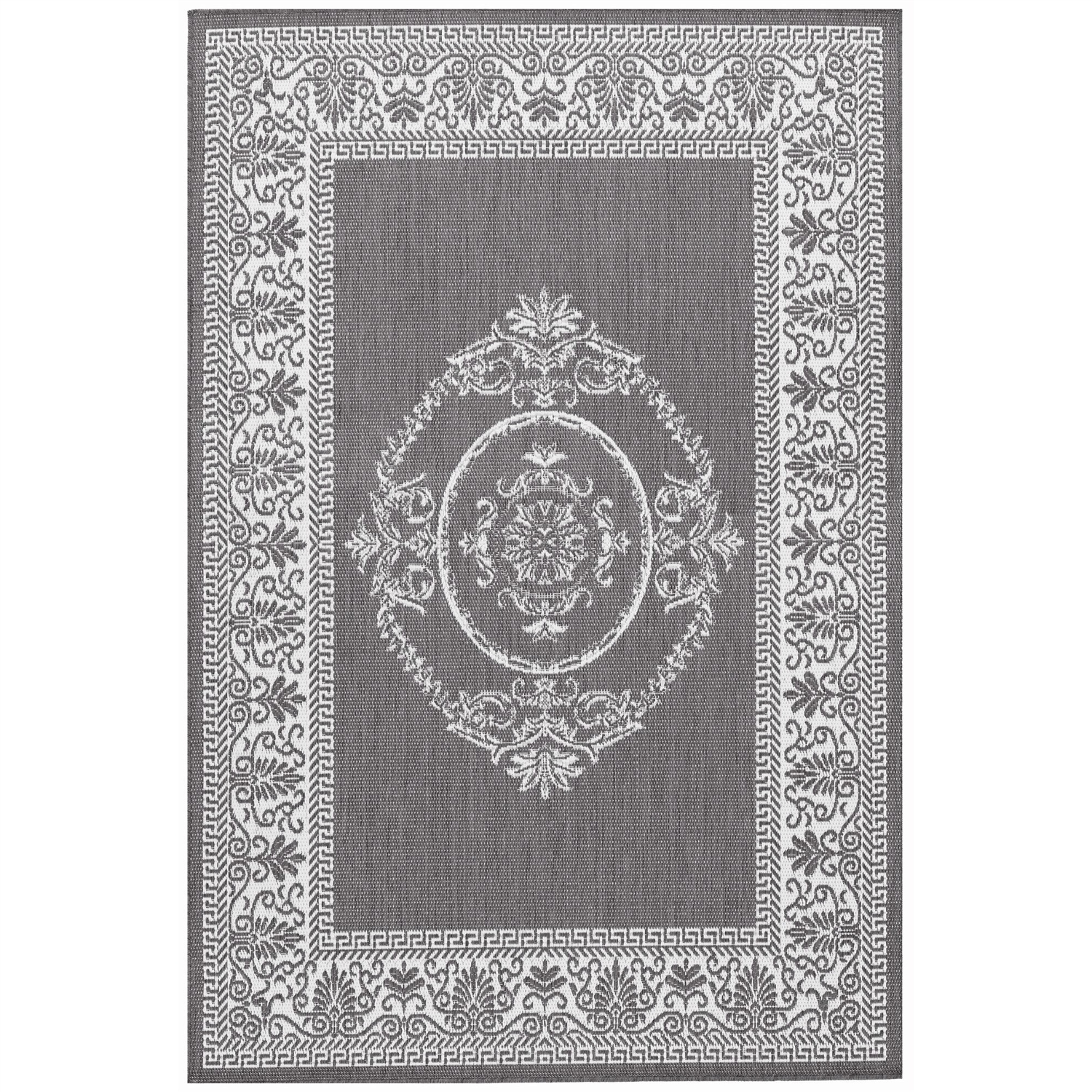 5'10 x 9'2 Grey White Medallion Indoor Outdoor Area Rug, AMGYR130631 :  Distinctively designed to complement the simple yet classic styling of this 5'10 x 9'2 Grey White Medallion Indoor Outdoor Area Rug, uniquely colored to make stone entryways and patio decks warmer and more inviting. The naturally inspired color palette offered in this versatile collection features a series of unique combinations of natural hues that have been selected to complement today's hottest outdoor home furnishings. Including runners and special shapes in the form of rounds and squares. Mold/Mildew Resistant.