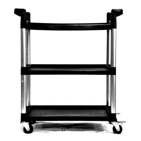 "This 3-Tier Printer Stand Utility Cart with Locking Casters is perfect for any garage, warehouse, office, or kitchen. With its high injection molded PP and lightweight aluminum legs, this cart resists dents, scratches, stains and rust. This versatile utility cart with swivel casters makes moving equipment and heavy loads easy in any environment. 3"" x 1"" swivel casters - 2 locking, 2 non-locking; Aluminum leg constructions."
