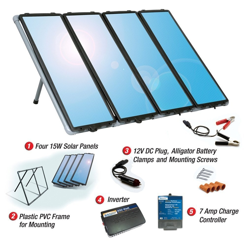 60-Watt Solar Panel Charging Kit with Charge Controller & Inverter, 60WSCKSF27995 :  This 60-Watt Solar Panel Charging Kit with Charge Controller & Inverter gives you several more reasons to love the sun. It provides the power you need, while helping you save money and protect the environment. This kit is ideal for cabins, recreational vehicles, remote power, back-up power, and 12-volt battery charging. It comes with everything you need to start producing up to 60 Watts/4 Amps of clean, free power in all weather conditions. Designed for RVs, cabins, homes, boats, back-up and remote power use; Weatherproof, durable solar panels can withstand impacts from hailstones travelling 50 miles-per-hour; Built-in blocking diode helps protect against battery discharge at night; Complete kit includes four 15W amorphous solar panels, a PVC mounting frame, a 7-amp charge controller, 200-watt inverter, and wiring/connection cables.