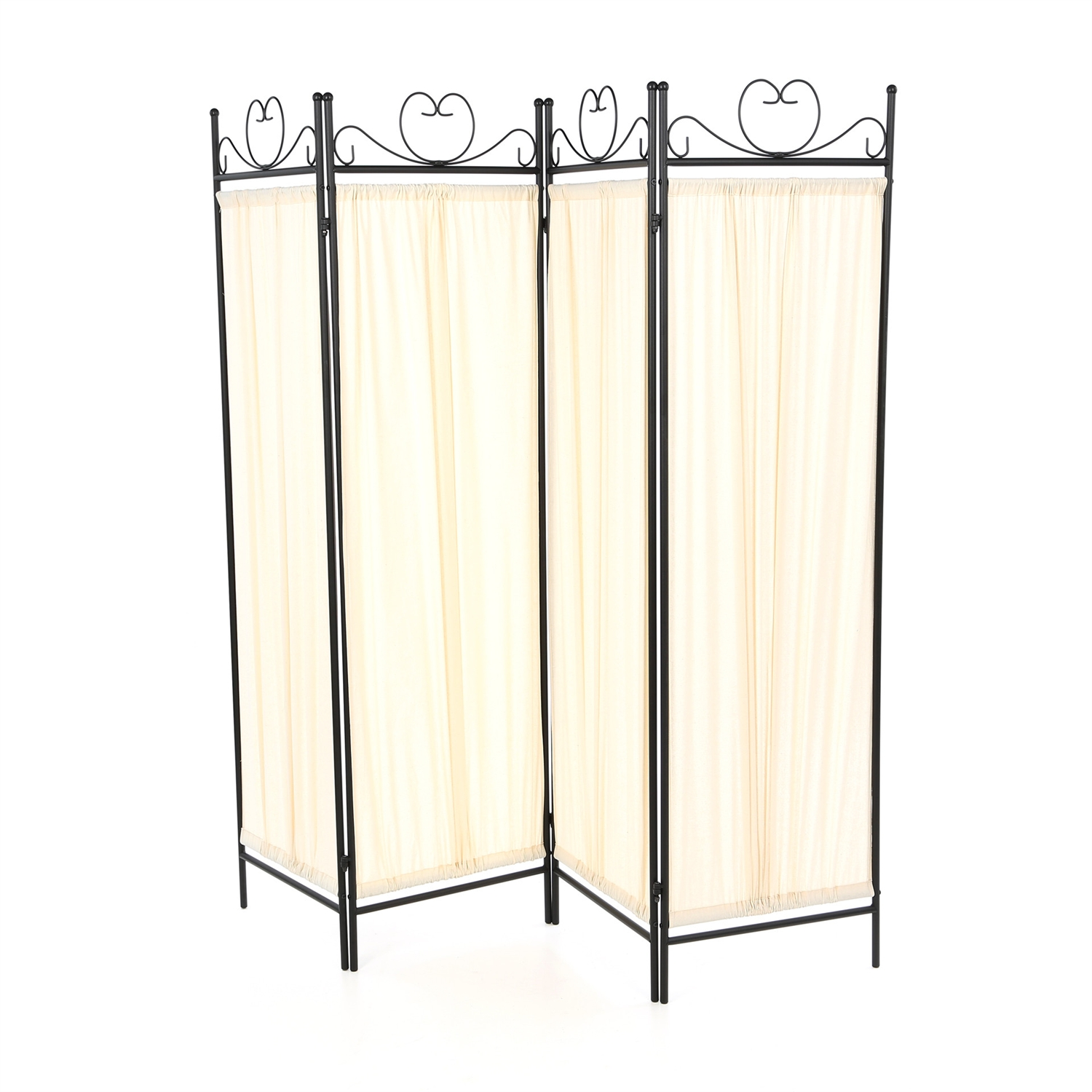 Black Metal 4-Panel Room Divider with Off-White Fabric Screen, BDF111726 :  This Black Metal 4-Panel Room Divider with Off-White Fabric Screen would be a great addition to your home. It has a metal black verde finish and butterfly decor. Product Type: Folding; Style: Traditional; Color: 1: Black; Color: 2: White; Country of Manufacture: Malaysia.