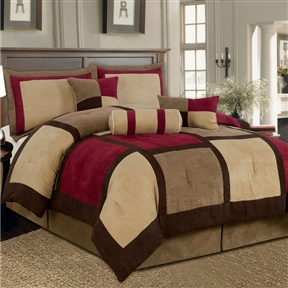 This King size 7-Piece Bed Bag Patchwork Comforter Set in Brown Burgundy Red would be a great addition to your home. It is made of microsuede material and comes in a brown white color. Lint Free: Yes; Non-Pilling: Yes; Wrinkle Resistant: Yes; Organic: No; Non-Toxic: Yes; Duvet Cover Included: No; Duvet or Comforter Material: Microsuede; Duvet or Comforter Fill Material: Polyester/Polyfill. Product Care: Machine wash on gentle cycle in cold water; Country of Manufacture: China. Shams Included (California King Size): Yes; Shams Included (King Size): Yes; Sham Type (King Size): King; Sham Material (King Size): Polyester; Sham Pattern (King Size): Check.