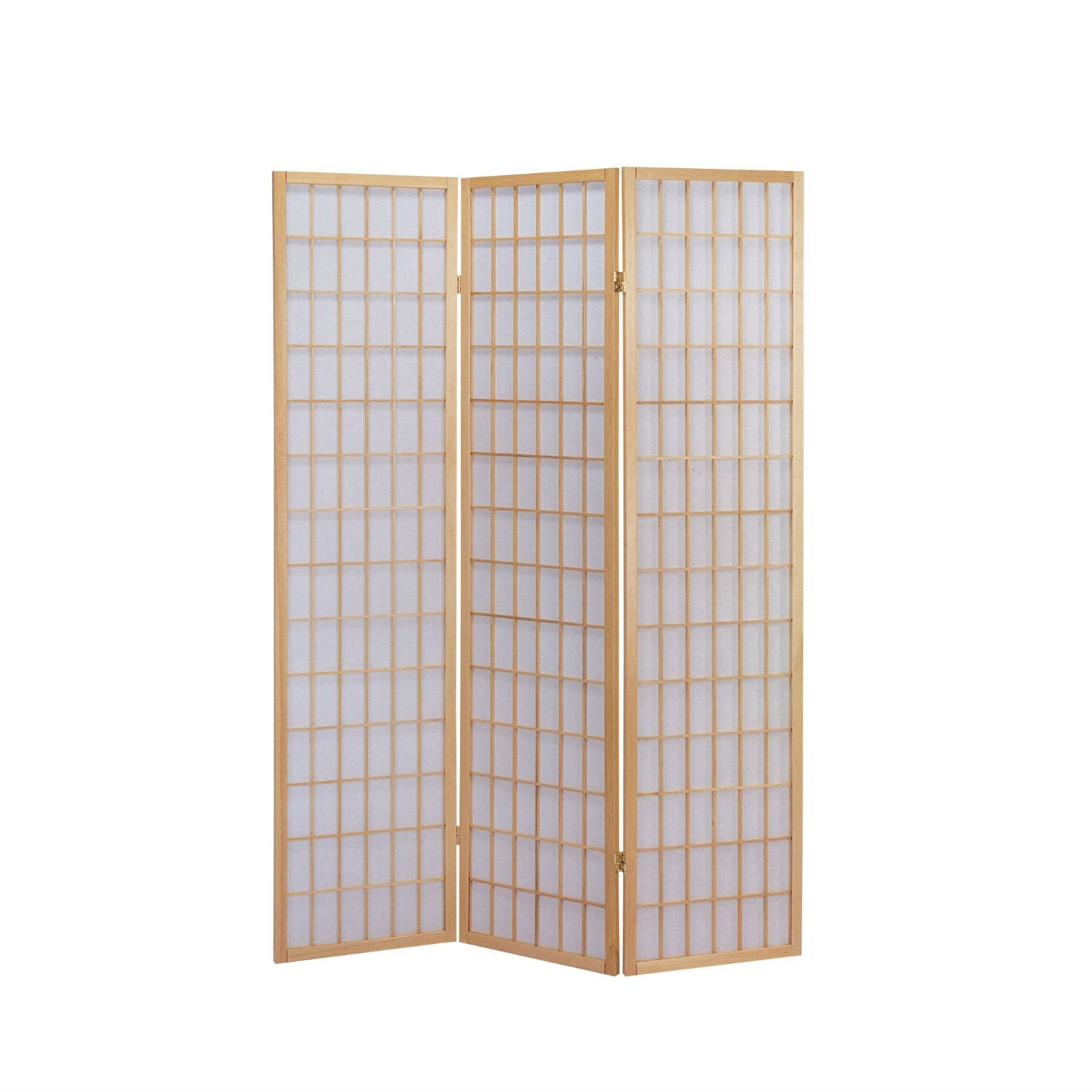 3-Panel Wooden Room Divider Japanese Shoji Screen in Natural, ANS469043 :  This 3-Panel Wooden Room Divider Japanese Shoji Screen in Natural is a simple and elegant way to divide a room. This item is made of quality and structure for you to enjoy it for years to come. This beautiful screen is perfect for your home. It will draw plenty of wanted attention to your living space while creating the desired separation that you crave. Define space and create privacy with this 3-Panel Wooden Screen Screen. Available in 3 finish; black, cherry and natural. Make this item part of your home decor today!