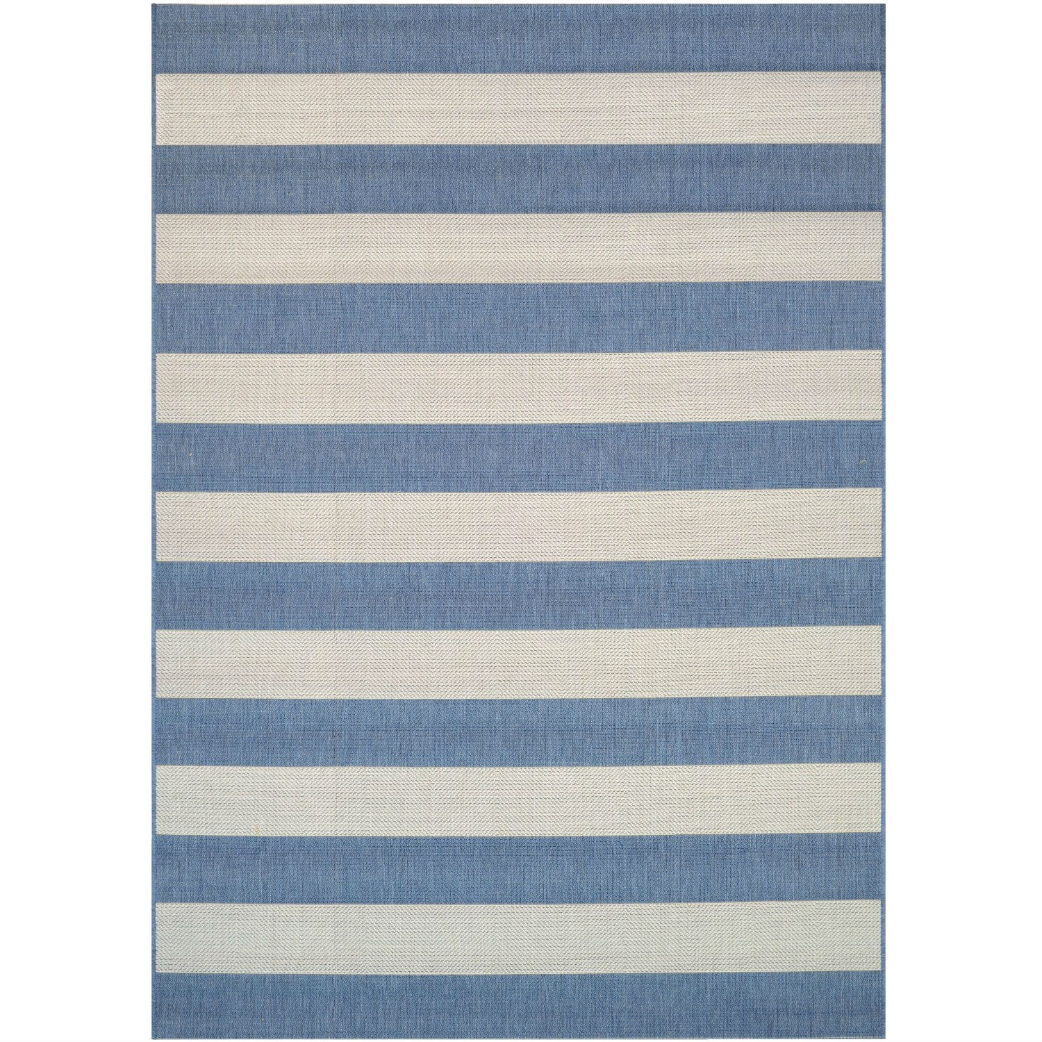 2' x 3'7 Ivory Blue Stripe Outdoor Indoor Rug, CAYC1389123 :  Your search for the perfect outdoor/indoor area rug is over. Introducing 2' x 3'7 Ivory Blue Stripe Outdoor Indoor Rug, the ideal solution to any outdoor space. Power-loomed of 100% fiber-enhanced polypropylene, each of the dynamic patterns offer a highly durable pile of superior comfort. The collection's structured, flatwoven construction allows for complete versatility style-wise, as well as an easy-to-maintain surface that's perfect for today's on-the-go household. This casual-chic collection provides an infinite range of style options wherever it is showcased, from casual to transitional indoor living areas and outdoor spaces in need of some spicing up. Whether you're looking for the perfect nautical-inspired addition to your home, or are going for a welcoming country cottage vibe, you are sure to find what you're looking for in this collection. UV Stabilized; Mold/Mildew Resistant; Designed to withstand outdoor elements.