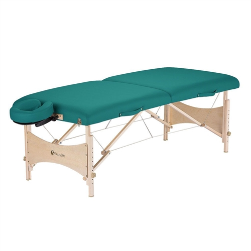 "This Teal Blue Portable Massage Table with 600 lb Weight Capacity and Carry Case is an eco-friendly yet economically priced full size table. It is crafted from high quality hard Maple from managed forests and finished with earth-friendly, water-based lacquer and glues. Layered with our lighweight yet responsive CFC-Free 2 1/2"" cushioning system and wrapped in 100% PU Nature's Touch upholstery adds comfort, durability and style."