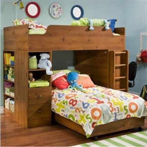 """This Sunny Pine Twin over Twin L-Shaped Bunk Bed with Storage features a Sunny Pine finish Simple and conventional Contemporary style Includes casters Constructed of CARB compliant materials Rounded corner for more safety Furniture tops and bottoms have contoured edging «Concave» wood-detailed knobs Functional unisex design that grows with the child Wooden leg Perfect for boys Mattress and linens not included Specifications: Overall Product Dimensions: 13.75""""H x 76.25""""W x 40.5""""D Weight: 103 lbs   South Shore Logik Sunny Pine Loft Combo Storage Unit (included quantity: 1) Features: Beautiful metal handle in an antique finish Rounded corner for more safety Furniture tops and bottoms have contoured edging «Concave» wood-detailed knobs Functional unisex design that grows with the child Wooden leg Metal glides Perfect for boys Constructed of CARB compliant materials South Shore Logik Wood Loft Desk with Hutch in Sunny Pine (included quantity: 1) Features: Beautiful metal handle in an antique finish Rounded edge for more safety Furniture tops and bottoms have contoured edging «Concave» wood-detailed knobs Functional unisex design that grows with the child Wooden leg Metal glides Perfect for boys Constructed of CARB compliant materials Specifications: Dimensions: 41""""W x 46""""H x 16.25""""D 87 lbs. South Shore Logik Sunny Pine Loft Top Bunk and Ladder (included quantity: 1) Features: Beautiful metal handle in an antique finish Rounded corner for more safety Furniture tops and bottoms have contoured edging «Concave» wood-detailed knobs Functional unisex design that grows with the child Wooden leg Metal glides Perfect for boys Constructed of CARB compliant materials. Multifunctional bedroom; Desk station with integrated lighting."""